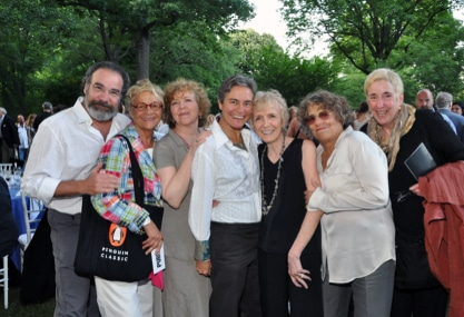 Revelers at 2011 Delacorte Theater Gala. From left, Mandy Patinkin, Estelle Parsons, Kathryn Grody, Rosemary Jordan, Gail, Rosemarie Tichler, Nancy Piccione. Gail was honored with a Playwright Fellowship in her name. (Photo: Anita & Steve Shevett)