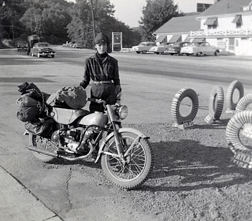 Gail & motorcycle late 1950s