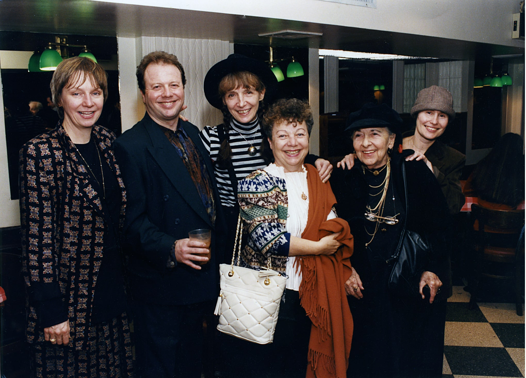 "The Joseph Papp Yiddish Theater Group,"" 1995. From left, Barbara Carroll (Joe's former Executive Assistant), JPYT Founder-director Avi Hoffman, JPYT Board member Gail, Founder-playwright Miriam Hoffman, supporter Sonya Staff, and Founder-playwright Rena Borow. (Photo: Papp Estate)"